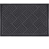 Mibao Durable Rubber Door Mat, Non Slip Durable Welcome Doormat, Indoor Outdoor Rug, Low-Profile Entrance Large Door Mat for Entry, Garage, Patio, Heavy Duty, Easy Clean,36 x 60, Gray