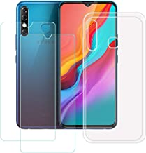 """YZKJ Case for Infinix Hot 8 Cover + 2 x Screen Protector Tempered Glass Protective Film - Flexible Soft Gel Crystal Transparent TPU Silicone Protection Case for Infinix Hot 8 (6.52"""")"""