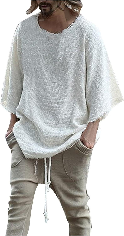 KEEYO Mens Baggy Cotton Linen Shirts 3/4 Raglan Sleeve Active Outdoor Hiking Baseball Casual Loose Plain T-Shirts Tops