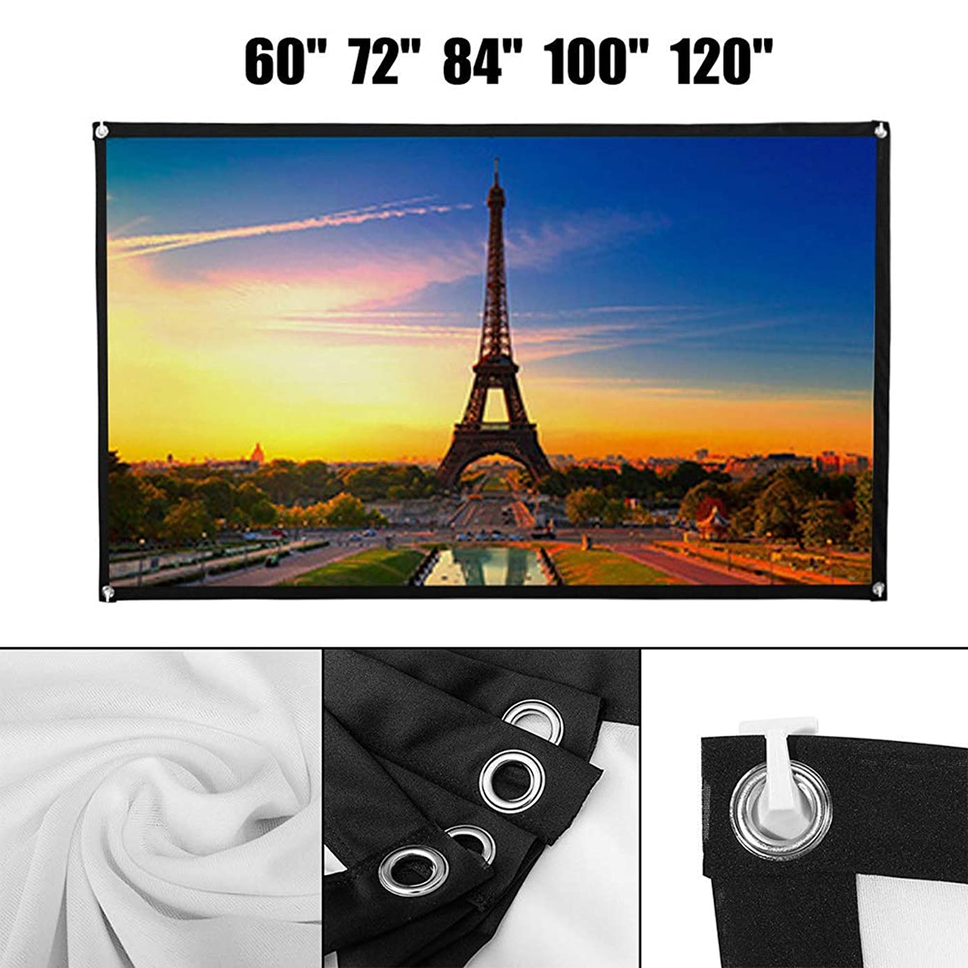 Yamalans 60/72/84/100/120 Inch Projector Screen Foldable Home Theater Outdoor Movies 84Inch
