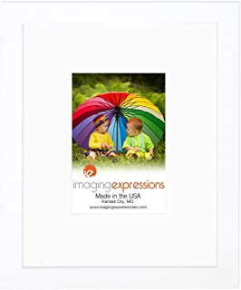 Imaging Expressions - White Picture Frame 8x10 - Thick Beveled Mat to Display 4x6 Photos - Wall Hanging or Sturdy Easel for Tabletop Display - Made in The USA