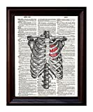 Dictionary Art Print - Ribcage with Heart - Printed on Recycled Vintage Dictionary Paper - 8.5'x11' - Mixed Media Poster on Vintage Dictionary Page