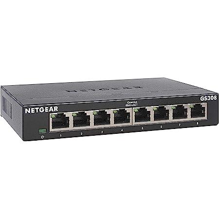 NETGEAR 8 Port Gigabit Ethernet Unmanaged Network Switch (GS308) - Home Network Hub, Office Ethernet Splitter, Plug-and-Play, Silent Operation, Desktop or Wall Mount