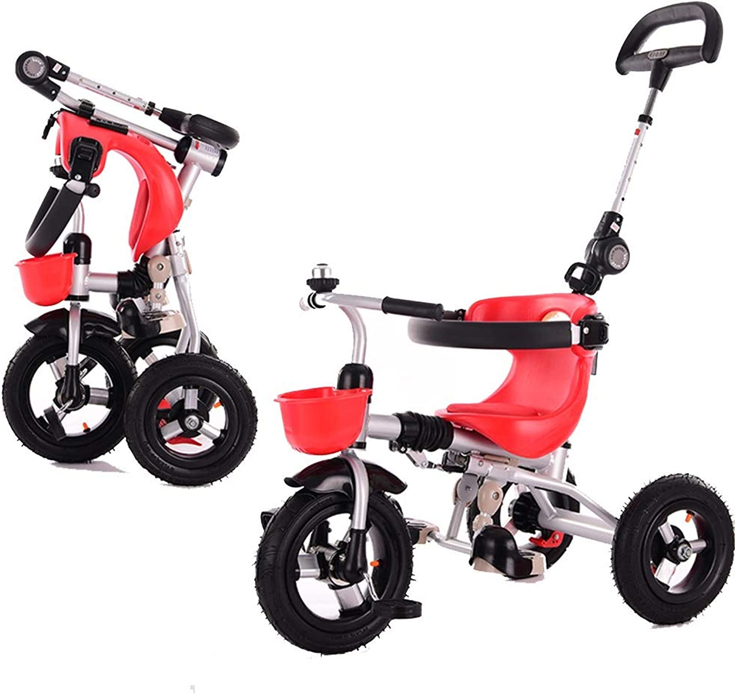 YUMEIGE Kids' Tricycles Kids Tricycle Foldable 1-5Years Old Birthday Gift Baby Tricycle Titanium Empty Wheel with Push Handle (Load Weight 40kg) Available