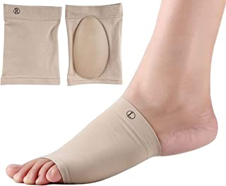 Remedy Health Foot Arch Support Sleeves with Inner Gel Padding | for Fallen Arches, Flat Feet, Plantar Fasciitis Pain Relief | Unisex Stretch Compression Fabric | One Size Fits All