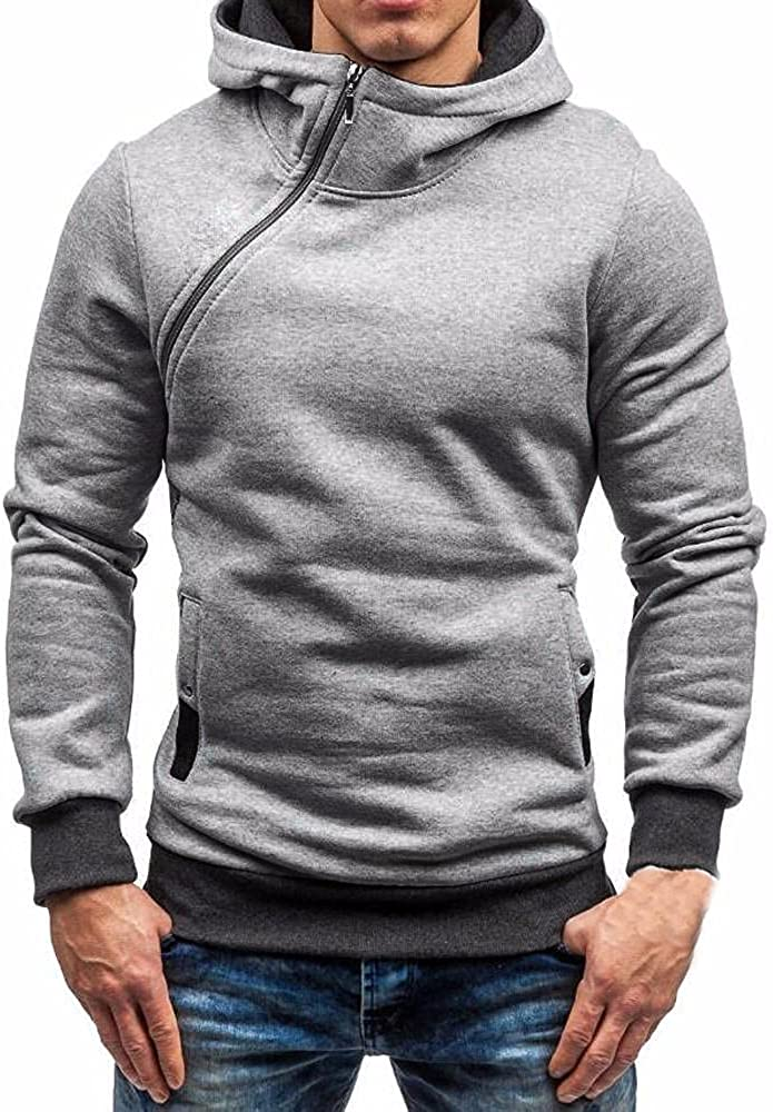 Hoodies for Men, F_Gotal Men's Long Sleeve Autumn Solid Cowl Neck Pocket Loose Casual Sweatshirt Hoodies Tracksuits