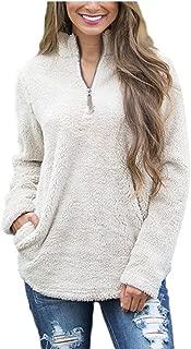 Women Casual 1/4 Zip Sherpa Fleece Pullover Jacket Outerwear Winter Coat