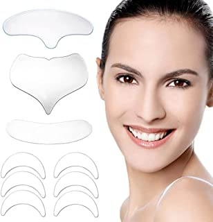 9 Pcs Silicone Anti Wrinkle Pads, Foonee Reusable Anti Wrinkle Chest Pads, Neck Wrinkle Pads, Forehead Pad, Anti Wrinkle Eye Pads, 100% Medical Grade Silicone, Smooth Your Skin