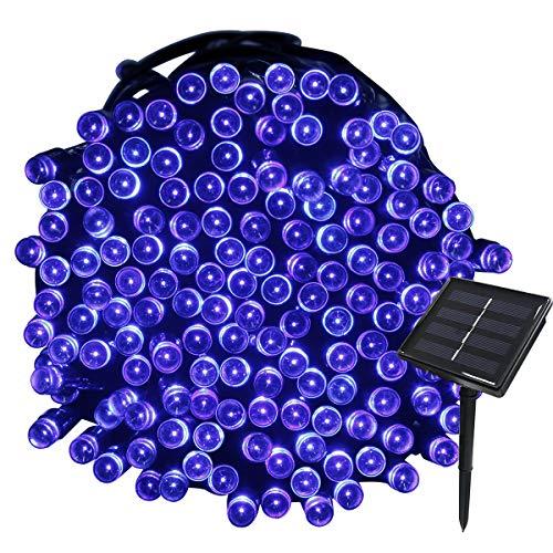 Tuokay Solar Lichterkette Außen, 22m 200 LED 8 Modi Wasserdicht LED Außenlichterkette, Dekorative Beleuchtung für Garten Balkon Pavillon Terrasse Rasen Hof Zaun Hochzeit Deko (Blau)