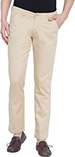 American-Elm Stretchable Casual Trousers for Men| Slim Fit Cotton Chinos Pant for Men