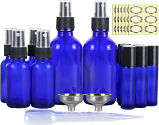 12 Pack, Cobalt Blue Glass Spray Bottle Kits - 2 Pack 4oz & 4 Pack 1oz Spray Bottles & 6 Pack 10ml Roller Bottles for Essential Oils or Cleaning Products. Labels, Including Droppers & Funnels
