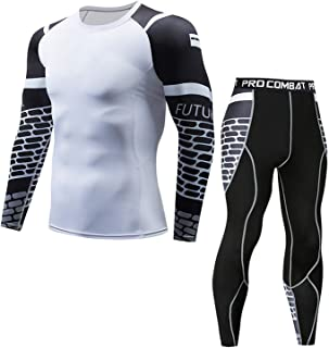 Morbuy Men's Fitness Gym Clothing Set, 2 Pcs Exercise Sports Clothes Men Compression Shirt Tights Pants Workout Running Tr...