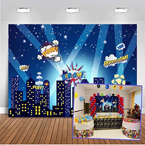 Mehofoto superhéroe telón de fondo 7x5ft paisaje urbano dibujos animados edificios altos telones de fondo de fotos sin fisuras para niños fiesta fotografía fondo