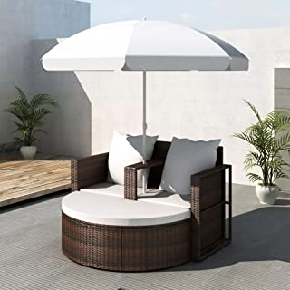 Outdoor Daybed, Chaise Longue Rattan with Umbrella, Pool Lounge Chairs with Cushion for Patio, Garden