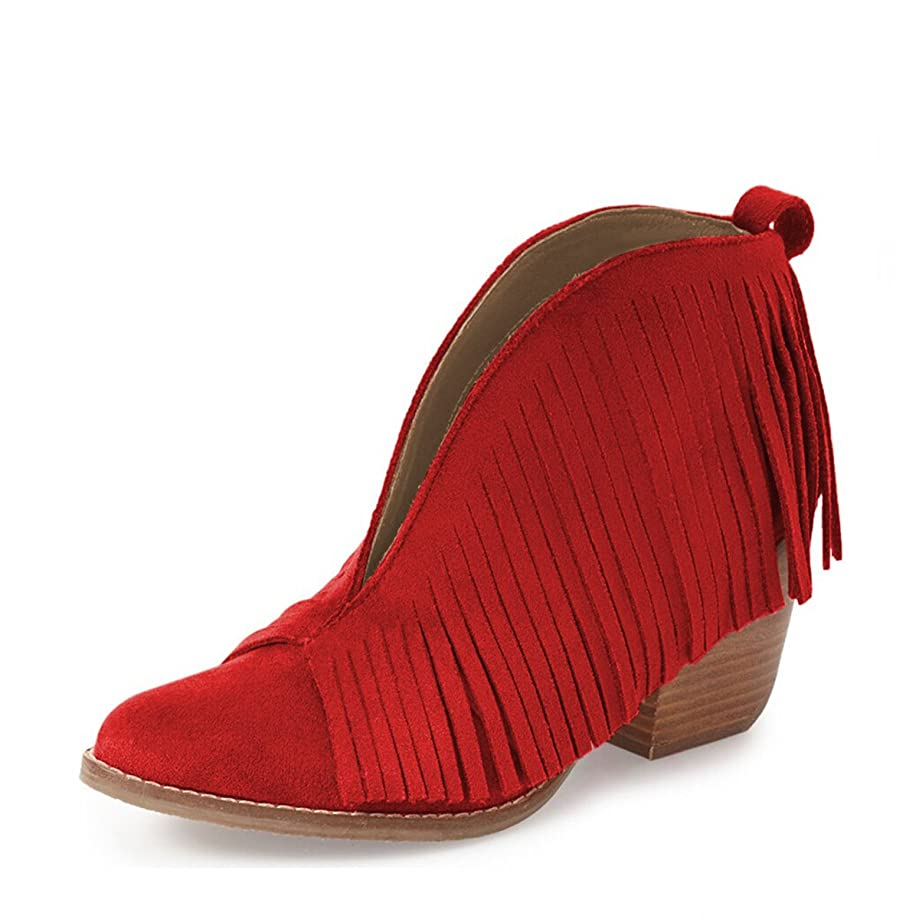YDN Western Ankle High Boots with Tassels Round Toe Block Heel Suede Retro Booties