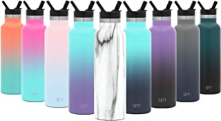 Simple Modern Ascent Water Bottle with Straw Lid - Narrow Mouth, Vacuum Insulated, Double Wall, 18/8 Stainless Steel Powder Coated