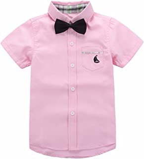 Motteecity Trendy Boys Clothes Solid Bow Tie Ship Embroider Short Sleeves Casual Polo Shirt