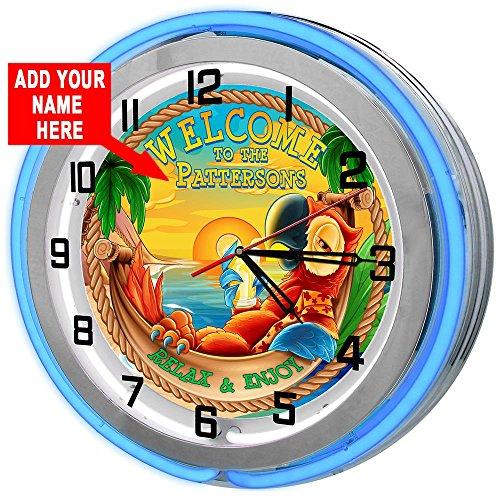 Redeye Laserworks Personalized Tiki Parrot Beach Bar 18  Blue Double Neon Garage Clock from