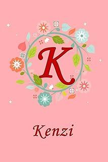 K: Kenzi: Kenzi Monogrammed Personalised Custom Name Journal / Notebook / Diary - 6x9 - Letter K Monogram - Spring Flowers...