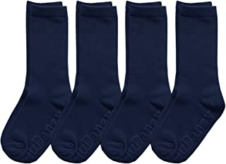 4 Pack of Mid-Calf Ribbed Socks with Anti-Slip Grips for School Uniform, Soccer, Sports, AFO