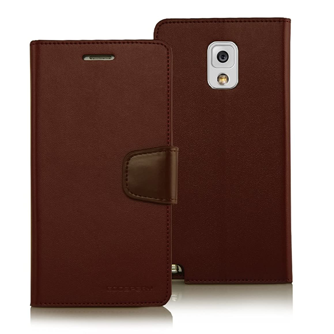 Galaxy NOTE 3 Case, [Drop Protection] Goospery Sonata Diary Premium Synthetic Leather Wallet Type [ID / Credit Card Slots + Cash Pocket] Cover - Brown