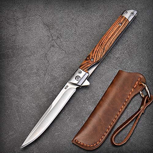 Eil Klappmesser Scharfes Taschenmesser mit Holzgriff. Survival Einhandmesser mit Flipper & Kugellagern, Jagdmesser aus Edelstahl (Weiß - Spitzes Messer)