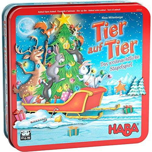 HABA 305525 - Tier auf Tier – Das weihnachtliche Stapelspiel, Geschicklichkeitsspiel für 2-4 Spieler ab 4 Jahren, das beliebte HABA Spiel mit weihnachtlichen Motiven