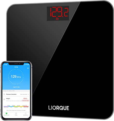 Liorque Digital Body Weight Scale, High Precision Wireless Scale with Smartphone App, Smart Step-on Bathroom Weight a...