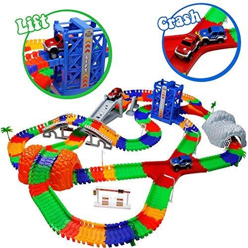 TONZE Pista Coches Juguetes Circuito Coches Pistas Flexibles con 2 Autos Juego Electricos para Infantil Niños Niñas 3 4 5 Años