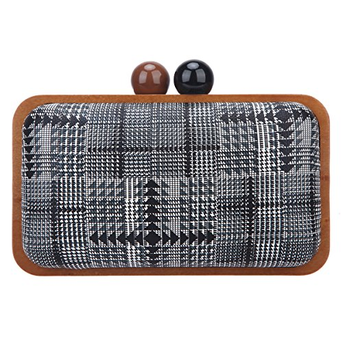 Bonjanvye Clutch Purses for Women Wood Frame Clutches and Evening Bags Gray