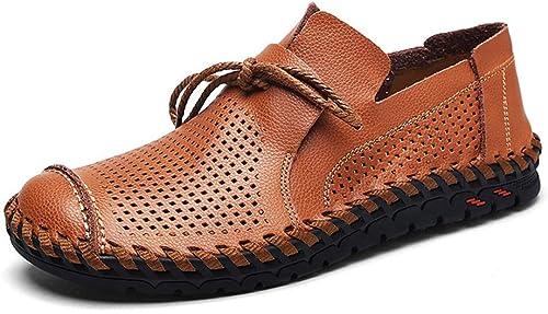LXYIUN Chaussures de Sport pour Hommes,Creux Mode Flaneurs Chaussures de Pois Chaussures d'affaires,marron,39