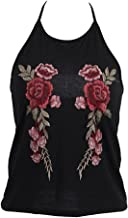 Villy Women's V Neck Sleeveless Floral Rose Embroidery Tank Cami Crop Top