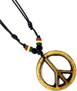 LAVIP Leather Peace Symbol Necklace - Peace Sign Pendant Rasta Hippie Hemp Hawaiian
