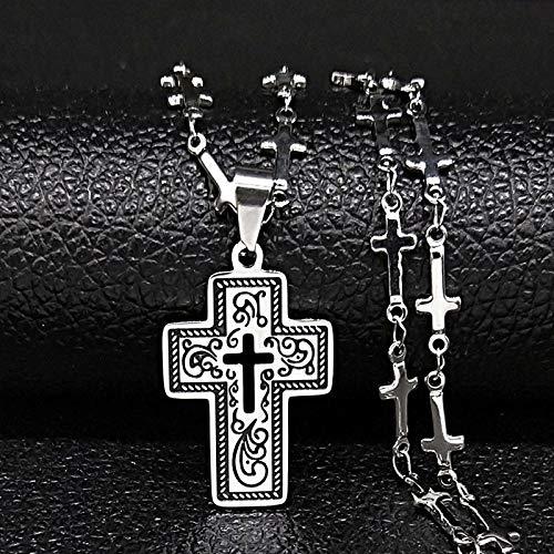 YUANBOO Collar de Estructura de Acero Inoxidable de la Cruz de la Moda para Las Mujeres Collar de Cadena de Esmalte Negro Collar de Joyas de joyería y Accesorios (Metal Color : 45cm Cross SR)