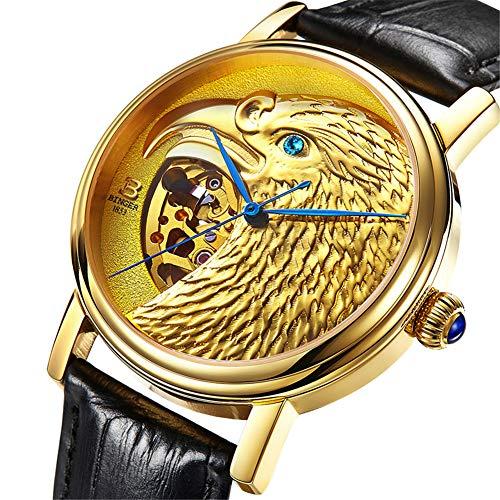 Suiza binger Relojes de Hombre, Diseño de la Cabeza del águila 3D,Reloj Zafiro automático japonés mecánico automático 8888,C