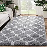 Zareas Modern Abstract Soft Fluffy Area Rugs for Living Room 5x8 White Grey Shag Rug for Bedroom Fuzzy Furry Carpet for Kids Girls Boys Long Fur Indoor Dorm Nursery Floor Comfy Accent Home Decor Mat