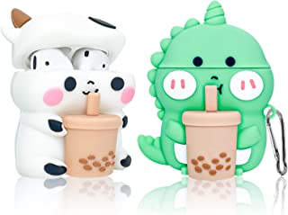 2 Pack for Airpods 2/1 Case Cover, 3D Cute Funny Boba Tea Cow & Boba Tea Dinosaurs Foods Shape Cartoon Apple Airpod Case S...
