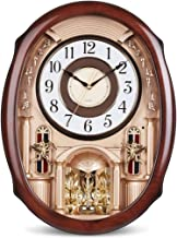 Watch clock european 24 inch luxury mute big music dynamic turn clock pendulum craft salon (color: a)
