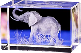 Jaswass 3D Laser Etched Crystal Elephant Statue 2x2x3.14 Inch with Gift Box for Home Decoration Holiday Party Office Decoration Craft Gift Children Gift