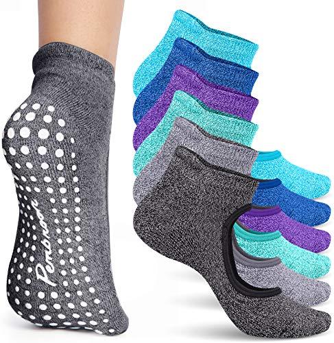 Non Slip Barre & Yoga Socks for Women   6 Pairs Pilates & Dance Grip Socks