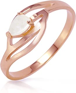 0.15 Carat 14k Solid Rose Gold Ring with Natural Pear-shaped Opal