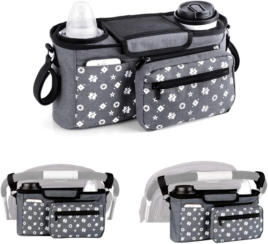 Homlynn Baby Stroller Organizer with Insulated Cup Holder Parent Console Baby Jogger Storage Bag-Universal Fit All Stroller Models for Cool Parents on-the-Go, Grey