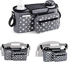 Kinderwagen-Organizer-Tasche mit isolierten Becherhaltern, Kinderwagen Aufbewahrungstasche für Babyzubehör – universell passend für alle stroller-Modelle grau