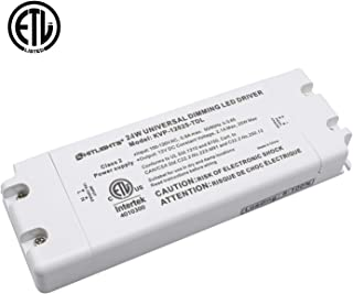 HitLights 24 Watt Dimmable Driver, Electric LED Driver - 110V AC-12V DC Transformer. Compatible with Lutron, Leviton and More for LED Strip Lights, Constant Voltage LED Products