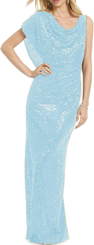Ellystar Women's Jewel Sequins Sleeveless Zipper Back Mermaid Prom Party Dresses