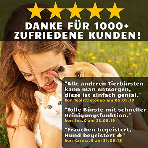 Golden Pets selbstreinigende Hundebürste & Katzenbürste | ALL-IN-ONE-Pflege für kurz-Langhaar geeignet | Einfache Reinigung durch EASY-CLEAN-Funktion | TOP Fellpflege für Ihren tierischen Freund - 3