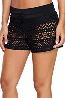 Heymiss Swim Skirts for Women Lace Crochet Skort Bikini Bottom Swim Shorts