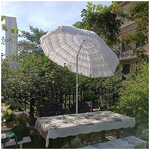 WUKALA Sombrilla de Playa Inclinable 45°,la Mejor Garden Parasol de Estilo Hawaiano de 2,4 m,UPF50+ Estable Sombrillas Terraza,para Exterior Camping Cafetería Hostal Blanco