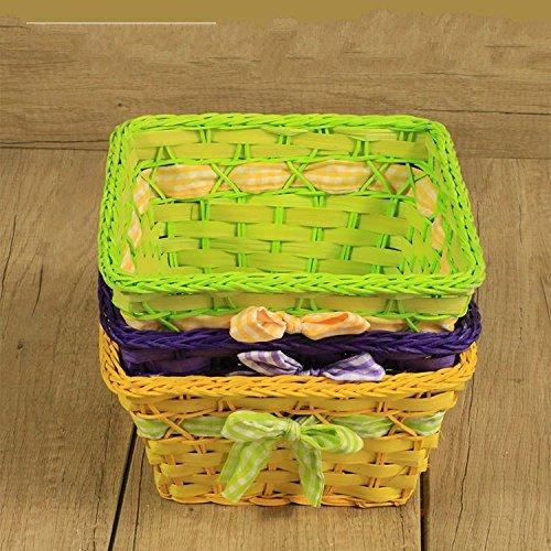 XBRle bambou crafts menton de stockage panier panier panier tissé à la main en mariage une place,green,20 * 14 * 10 (élevé) cm