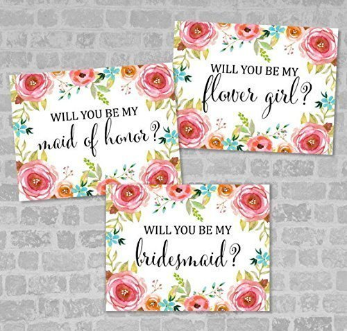 Pampas Grass Proposal Card Matron of Honor Card Maid of Honor Card Flower Girls Card Wedding Card Suite 4 x 6 Printable Bridesmaid Card